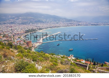 Alanya city hill, city coast, view from castle. Turkey - stock photo
