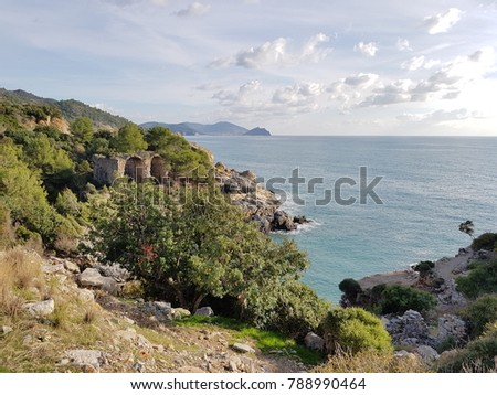 Alanya city rocks sea and mountains