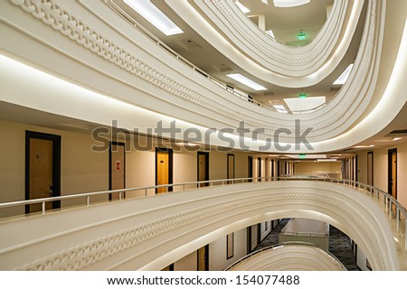 ALANYA, TURKEY - JULY 17: Interior of the hotel Vikingen Quality Resort. Hotel has 450 rooms and 13,000 square meters area on July 17, 2013 in Alanya, Turkey - stock photo