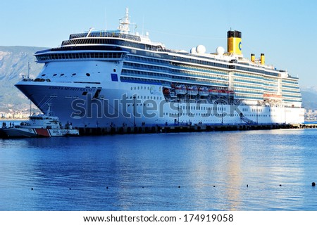 ALANYA, TURKEY - OCTOBER 23: Cruise ship Costa Mediterranea in Alanya harbor, Turkey on October 23, 2013. Cruise ships docking at Alanya have increased 50% in 2013.