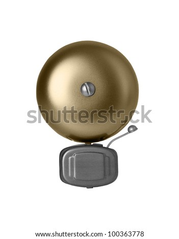 Alarm bell isolated on white - stock photo