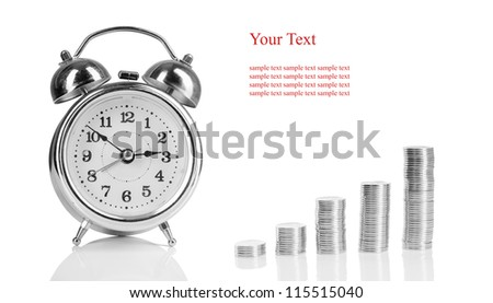 alarm clock and a pile of coins. concept of profit and business and financial growth. isolated on white background - stock photo