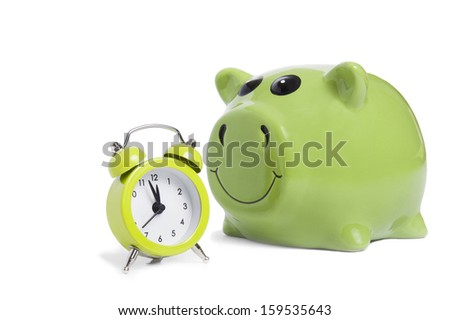 Alarm-clock and piggy bank