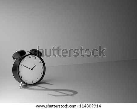 Alarm clock and shadow in form of dollar - stock photo