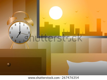 Alarm clock at the window beside the bed in the morning. - stock photo