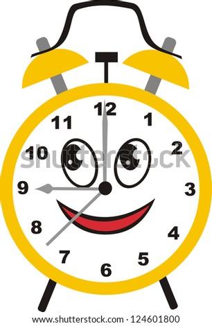 Alarm clock cartoon illustration - stock photo