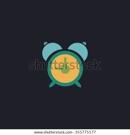 Alarm clock. Color flat icon on black background