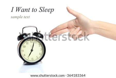 alarm clock concept irritable morning sleep - stock photo