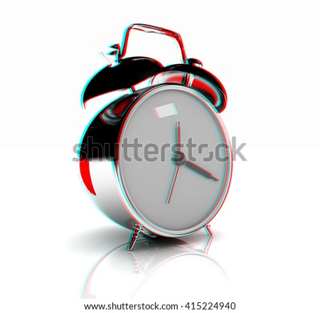 alarm clock . 3D illustration. Anaglyph. View with red/cyan glasses to see in 3D. - stock photo