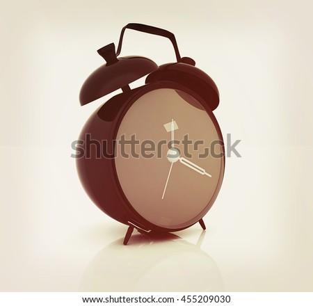 alarm clock . 3D illustration. Vintage style. - stock photo