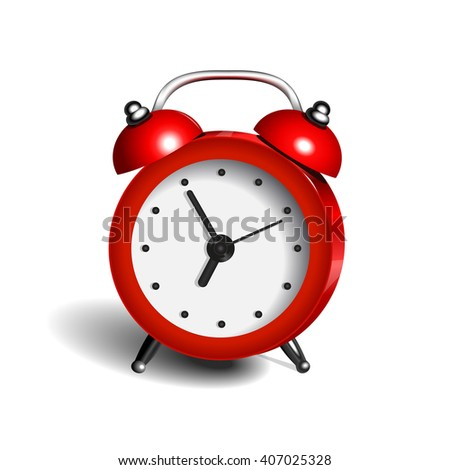alarm clock 3d  object pure color red - stock photo