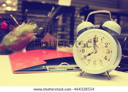 Alarm clock,Eight O'Clock - Vintage effect background