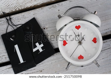 Alarm Clock 14 February - Love Concept - stock photo