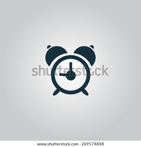 alarm clock. Flat web icon, sign or button isolated on grey background. Collection modern trend concept design style illustration symbol - stock photo