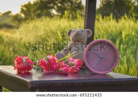 alarm clock good morning teddy bear stock photo edit now 695211433