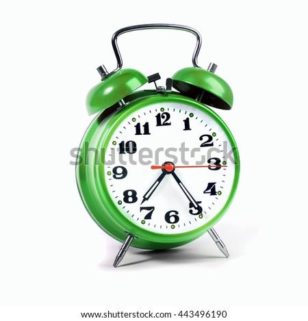 Alarm clock green isolated on white - stock photo
