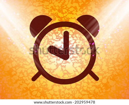 alarm clock icon Flat with abstract background. - stock photo
