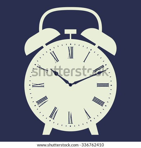 Alarm clock illustration on dark blue background. Dial with Roman numerals. Raster version.