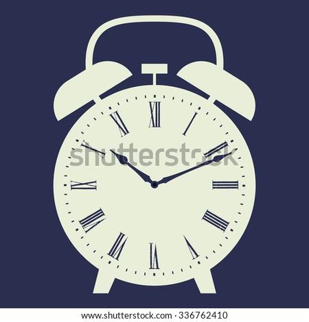 Alarm clock illustration on dark blue background. Dial with Roman numerals. Raster version. - stock photo