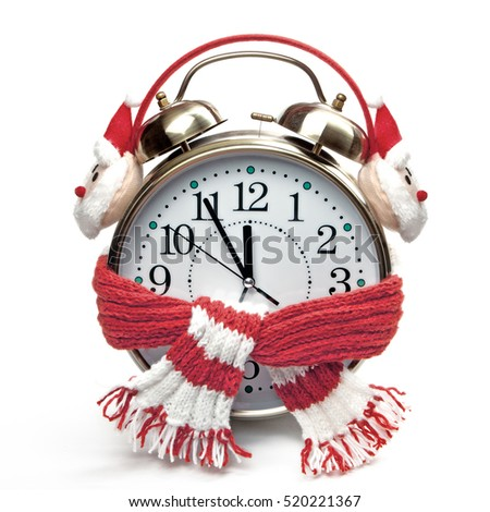 Alarm clock in a red scarf and headphones