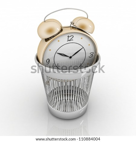 alarm clock in metal trash bin isolated on white. Concept of vain pastime. - stock photo