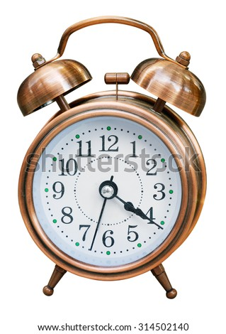 Alarm clock isolated. Clipping path included. - stock photo