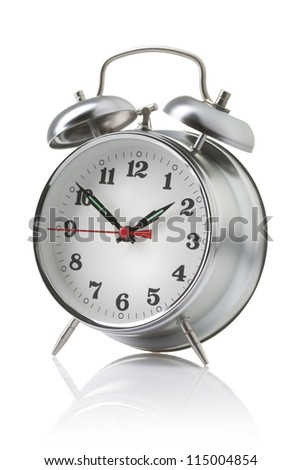 Alarm clock isolated on the white background - stock photo