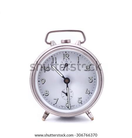 Alarm clock, isolated on the white background - stock photo