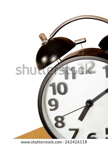 Alarm clock isolated on white background. - stock photo