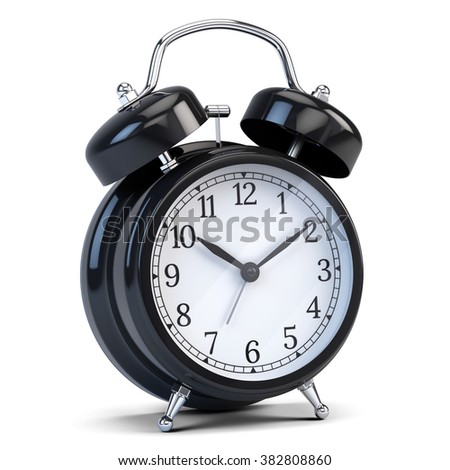 Alarm clock isolated on white - 3d render - stock photo