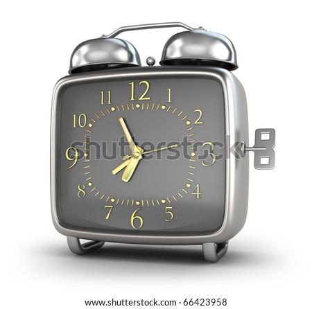 Alarm clock. Isolated on white 3d render. My own design.