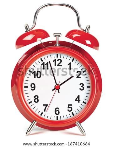Alarm clock isolated on white. Illustration - stock photo