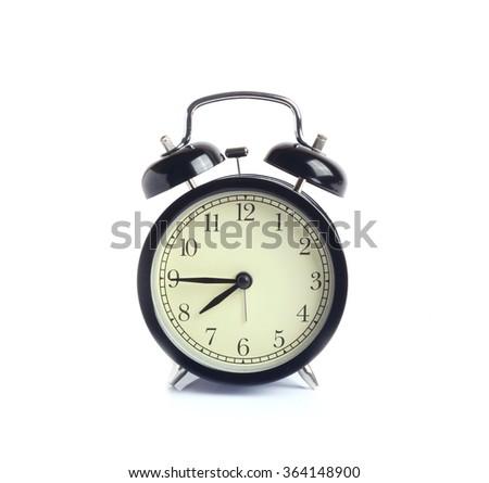alarm clock isolated white background  - stock photo