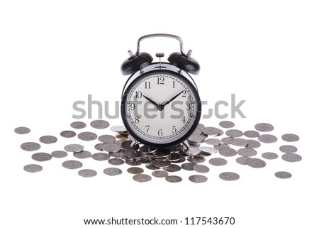 Alarm clock on a pile of coins