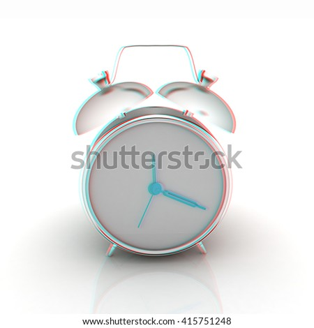Alarm clock on a white background. 3D illustration. Anaglyph. View with red/cyan glasses to see in 3D. - stock photo