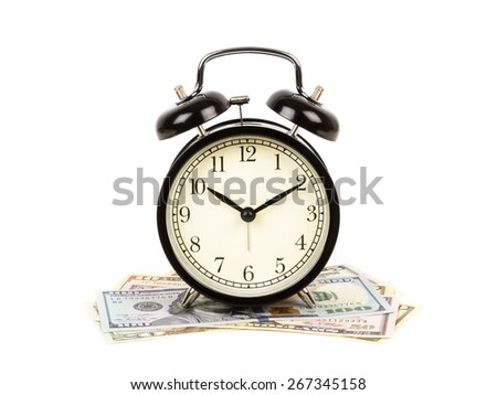 Alarm clock on dollar banknote white background