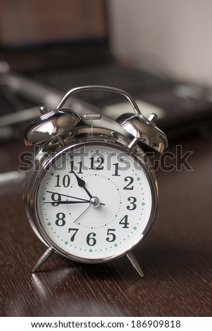 alarm clock on the table