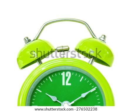 Alarm clock on white background. - stock photo