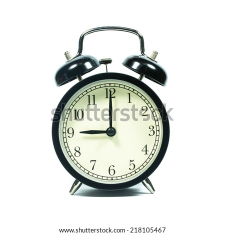Alarm clock on white background. At 9 .