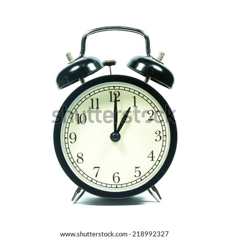 Alarm clock on white background. At 1 .