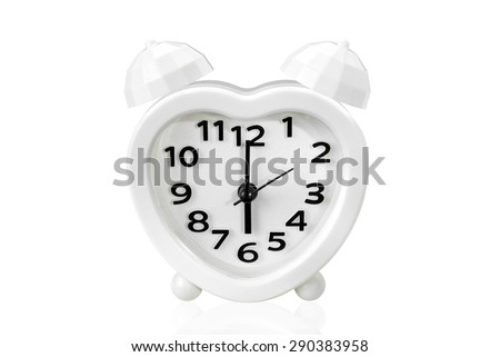alarm clock on white isolated background with clipping path. - stock photo