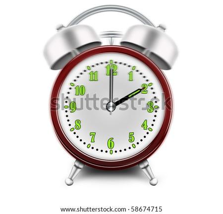 Alarm clock ringing at 2 o'clock - stock photo