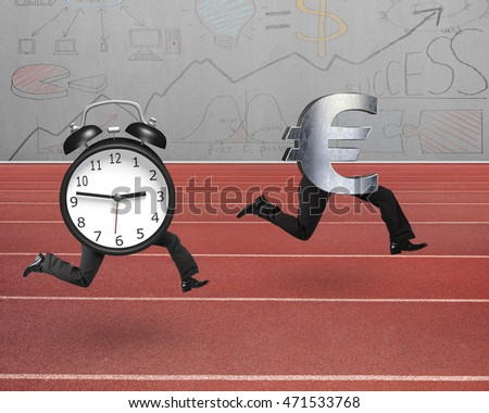 Alarm clock running after Euro money symbol, on red track with concrete wall background.