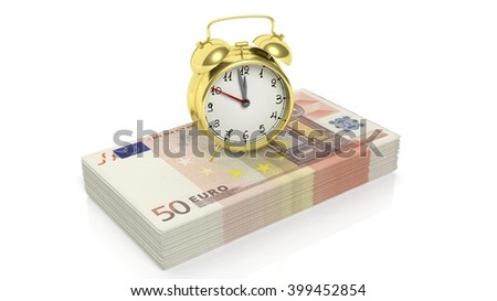 Alarm clock set on stack of 50 euro banknotes , isolated on white background, 3d rendering