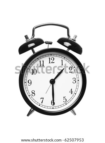 Alarm clock shows half past one isolated on white background