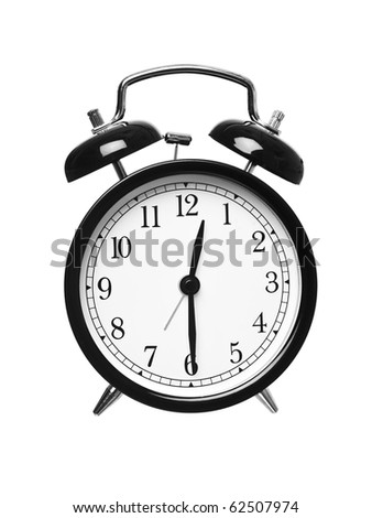 Alarm clock shows half past twelve isolated on white background
