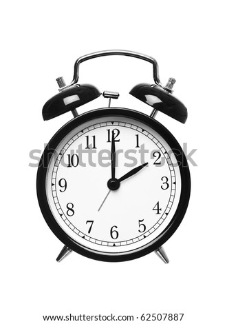 Alarm clock shows Two o`clock isolated on white background