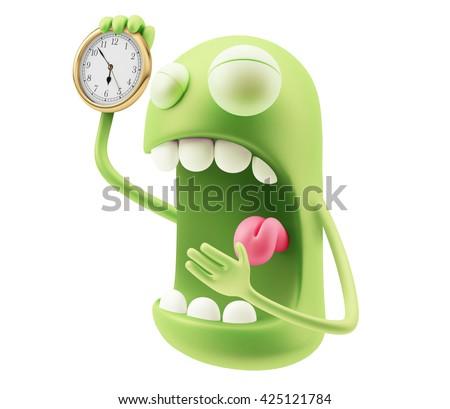 Alarm Clock Waking Up Emoji Cartoon. 3d Rendering. - stock photo