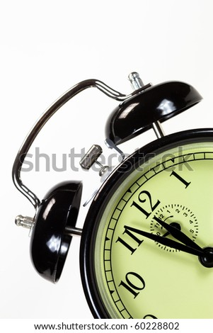 Alarm clock with at dutch angle with text space - stock photo