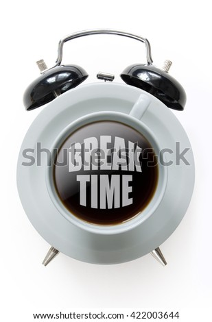 Alarm clock with coffee cup in the middle over a white background